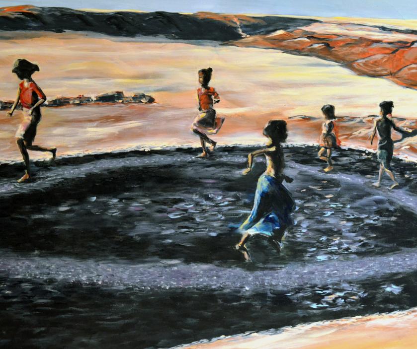 Square children running